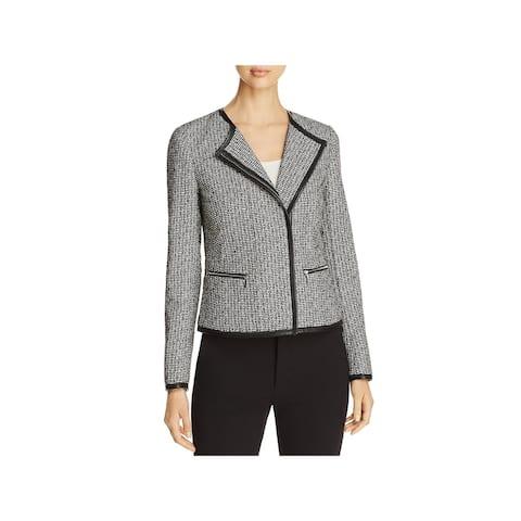 Lafayette 148 New York Womens Caridee Tweed Jacket Pattern Asymmetrical