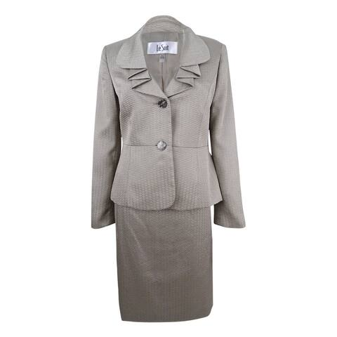 Le Suit Women's Two-Button Shimmer Skirt Suit - Titanium