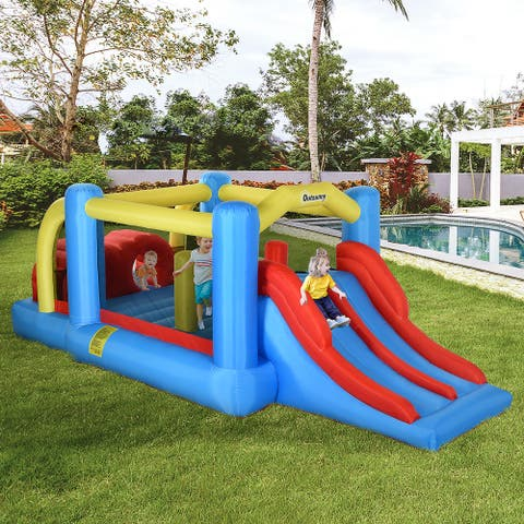 Outsunny 3-in-1 Kids Inflatable Bounce House Jumping Castle with Slide, Climbing Walls, & Trampoline, Inflator Included