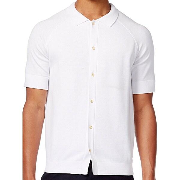 d5ba9b6d775 Shop Sean John White Bright Mens 4XL Big Tall Knit Button Down Shirt ...