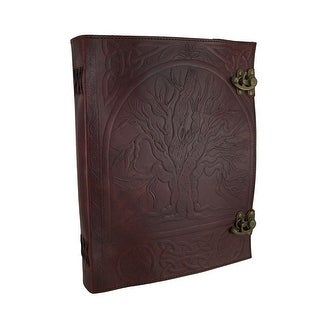 Large Embossed Leather Tree of Life Journal w/Double Swing Clasps - brown