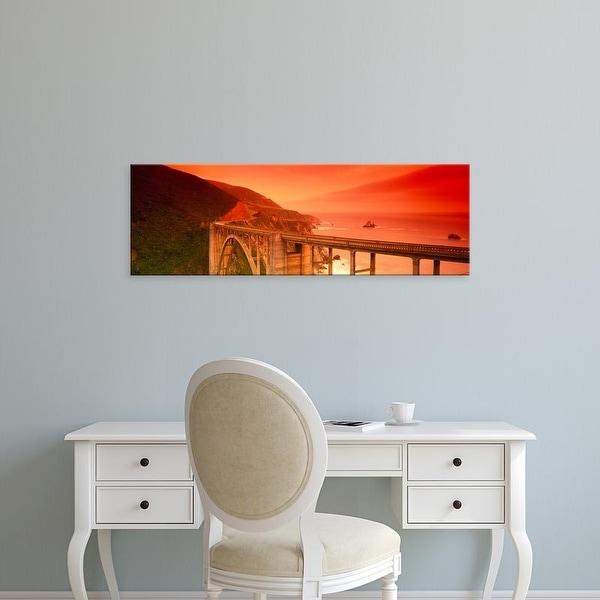 Easy Art Prints Panoramic Images's 'View of an arch bridge, Bixby Bridge, Big Sur, California' Premium Canvas Art