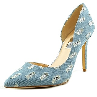 INC International Concepts Kenjay Women Pointed Toe Canvas Blue Heels
