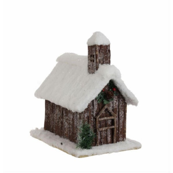 """12"""" Snow Flocked Christmas Morning Cabin - brown"""
