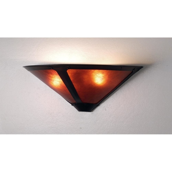 "Meyda Tiffany 67968 Dirk Van Erp 17"" Wide 2 Light Wall Washer with Mica Glass Shade - amber mica"
