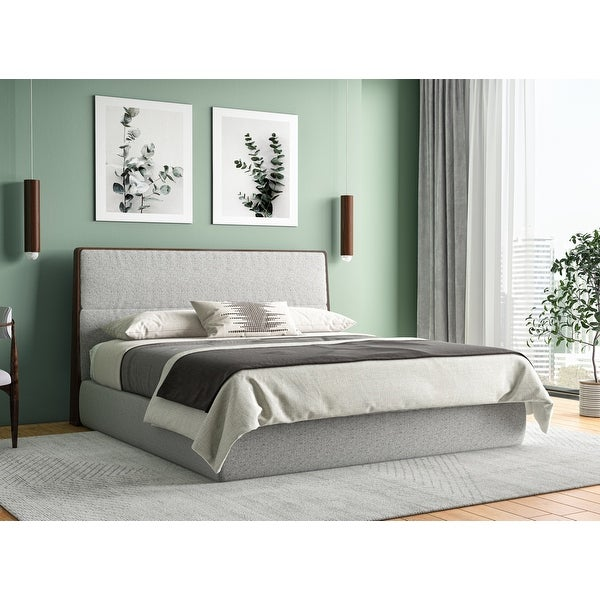 Modrest Dustin Modern Grey Fabric & Walnut Trimmed Bed. Opens flyout.