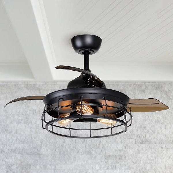 Industrial 36-inch Black 3-Blade Ceiling Fan with Light Kit - 36-in. Opens flyout.