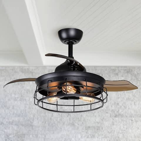 Industrial 36-inch Black 3-blade Ceiling Fan with Wall Switch - 36-in