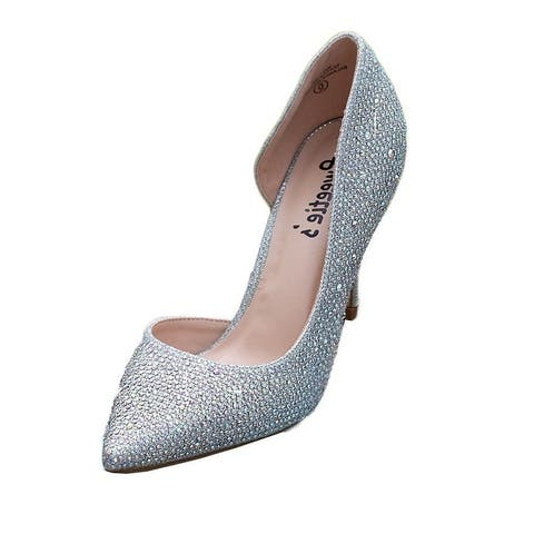 Sweetie's Shoes Womens Silver Marissa Pointed Toe Rhinestone Dress Shoes