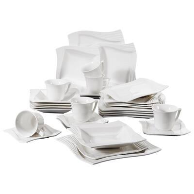 MALACASA Amparo Ivory White Porcelain Dinnerware Set
