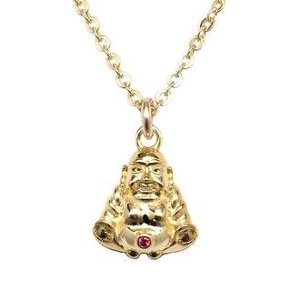 """Julieta Jewelry CZ Buddha Gold Charm 16"""" Necklace"""
