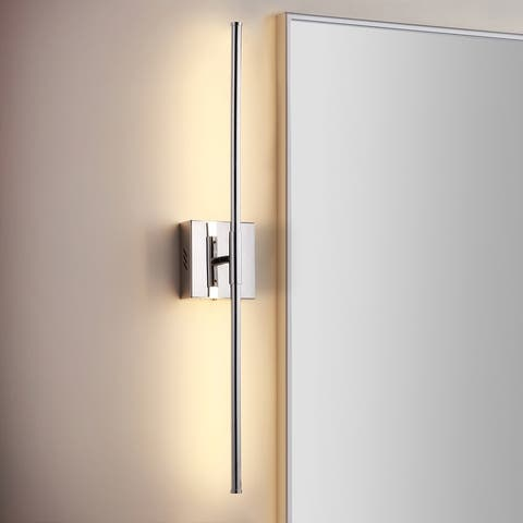 """Makena 28"""" Dimmable Integrated LED Wall Sconce, Chrome by JONATHAN Y"""
