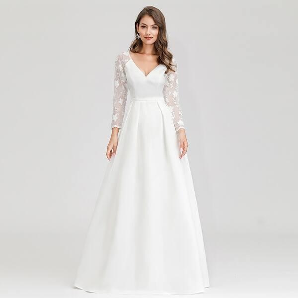 Shop Ever Pretty Womens Elegant V Neck Long Sleeve Wedding Dresses For Bride 00707 Overstock 30028597