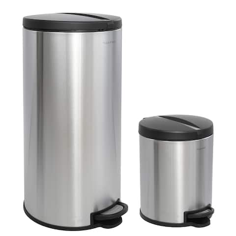 happimess Oscar Round 8-Gallon Step-Open Trash Can with FREE Mini Trash Can, Stainless Steel/Black