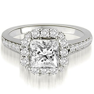 0.77 CT.TW Halo Princess And Round Cut Diamond Engagement Ring - White H-I