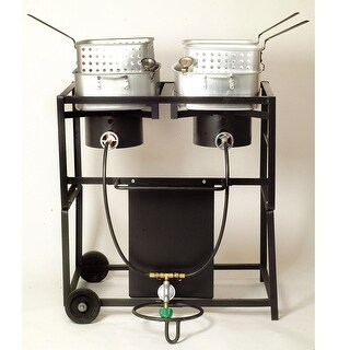 King Kooker #KKDFF30T- 30 Dual Outdoor Propane Frying Cart - KKDFF30T