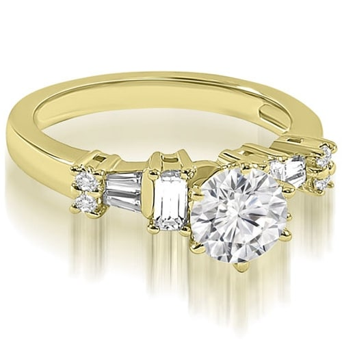 1.50 cttw. 14K Yellow Gold Round Princess Baguette cut Diamond Engagement Ring