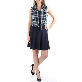 EMERALD SUNDAE $78 New 1105 Navy W/ Attached Shirt Dress Juniors M B+B
