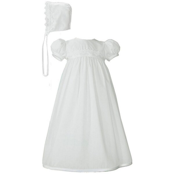 Baby Girls White Poly Cotton Lace Trim Bonnet Christening Gown