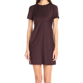 Theory NEW Deep Purple Womens Size 10 Crewneck Seamed Sheath Dress