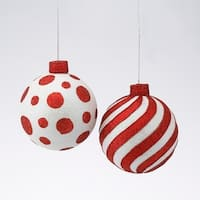Club Pack of 48 Red and White Glitter Ball Shatterproof Ornaments 4""