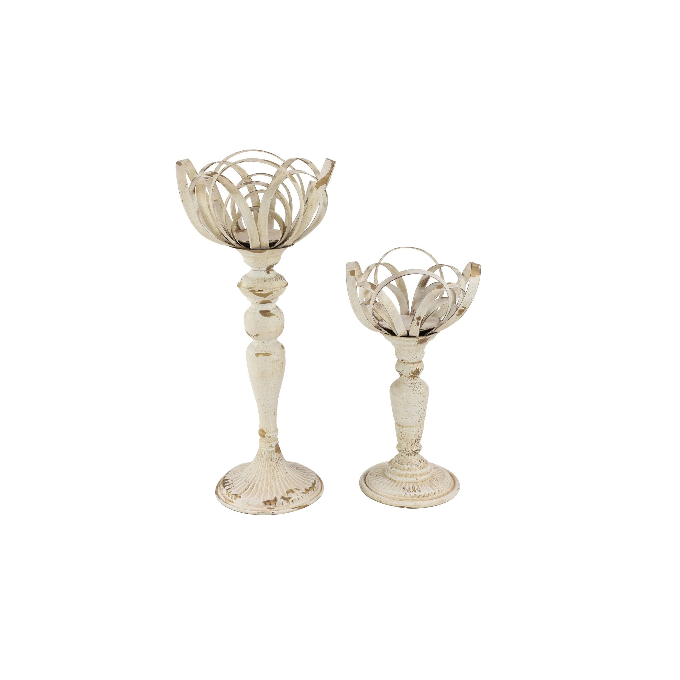 Tall Distressed White Vintage Goblet Shaped Metal Candle Holders Set Of 2 9 X 9 X 22 Overstock 32140743