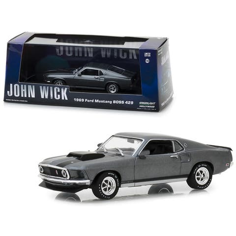 1969 Ford Mustang BOSS 429 Gray with Black Stripes John Wick (2014) Movie 1/43 Diecast Model Car by Greenlight
