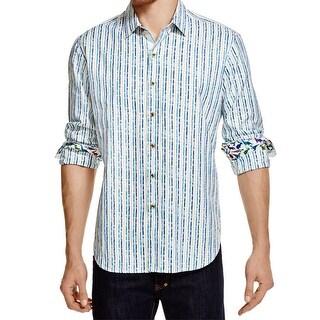 Robert Graham NEW Blue Striped Mens Size XL Button Down Cotton Shirt