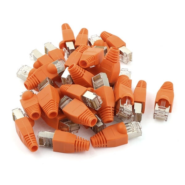 Unique Bargains 30 x Gold Plated RJ45 Crystal Head 8P8C Plug Connector w Orange Claws Boot