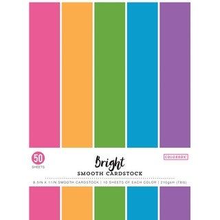 """Colorbok 78lb Smooth Cardstock 12/""""x12/"""" 30//pkg-bright 5 Colors//6 Each"""