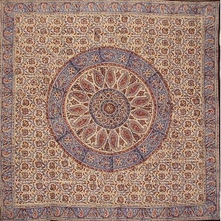 Handmade Kalamkari Mandala Block Print 100% Cotton Tablecloth Rectangular Square Round Napkins Placemats