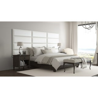 Vant Upholstered Wall Panels (Headboards) Sets of 4 - Deluxe Leather - Cream White - 39 Inch - Twin-King.