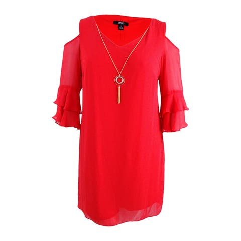 MSK Women's Cold-Shoulder Shift Dress with Necklace (16, Winter Coral) - Winter Coral - 16