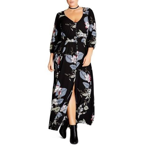 City Chic Womens Plus Blossom Maxi Dress Floral Button-Front - Black