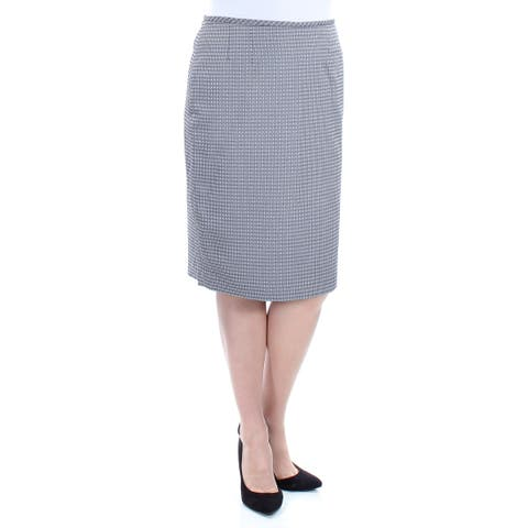 LE SUIT Womens Gray Geometric Knee Length Pencil Wear To Work Skirt Size: 10