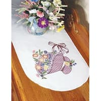"Flower Bonnet - Stamped Perle Edge Dresser Scarf 15""X42"""