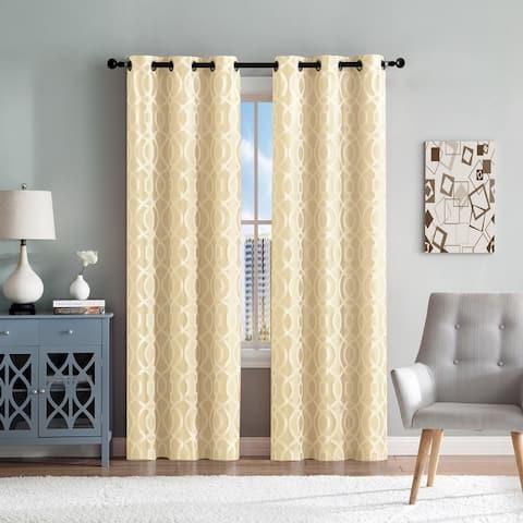 "Montana Woven Jacquard Window Curtain Panel Pair 96"" Long - 76"" x 96"""