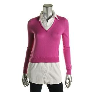 Lauren Ralph Lauren Womens Petites Layered V-Neck Pullover Sweater - pxs