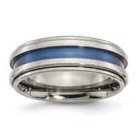 Chisel Titanium with Blue Triple Groove 8mm Polished Band