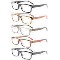 Eyekepper 5-Pack Quality Spring Hinges Wood Arms Mens Womens Reading Glasses+1.0