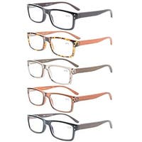 Eyekepper 5-Pack Quality Spring Hinges Wood Arms Mens Womens Reading Glasses+1.25