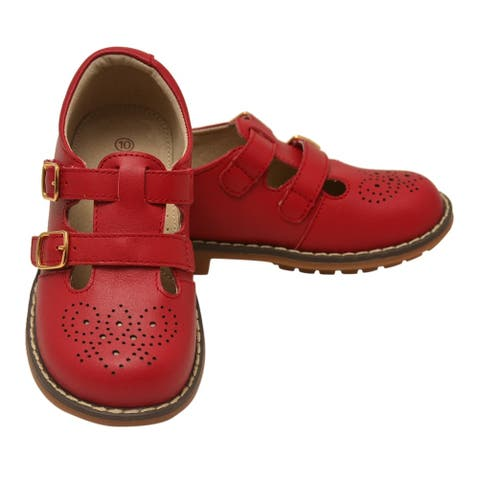 Little Girls Red Double T-Strap Buckled Leather Shoes