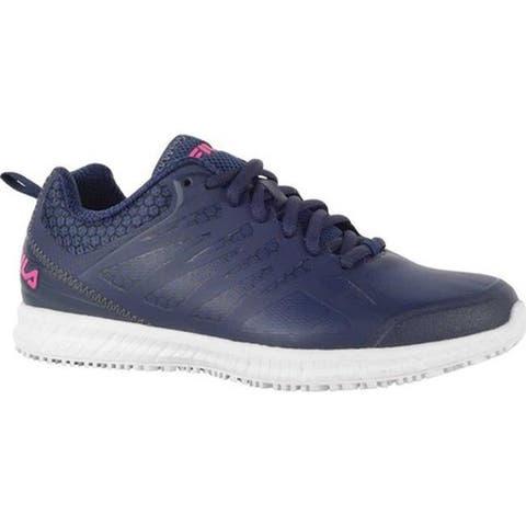 3f094ec01 Fila Women s Memory Bouncelight Slip-Resistant Jogger Sneaker Fila Navy Pink  Glo White