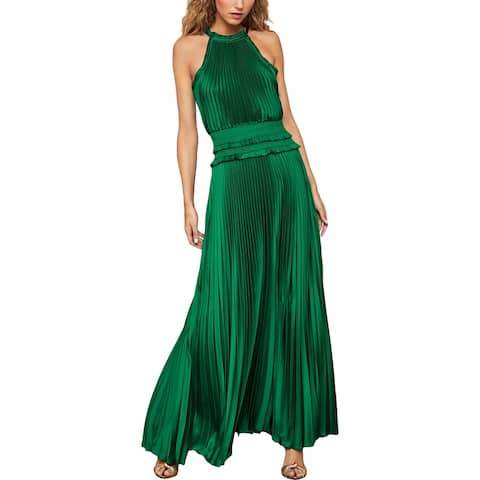 BCBG Max Azria Womens Evening Dress Satin High Neck