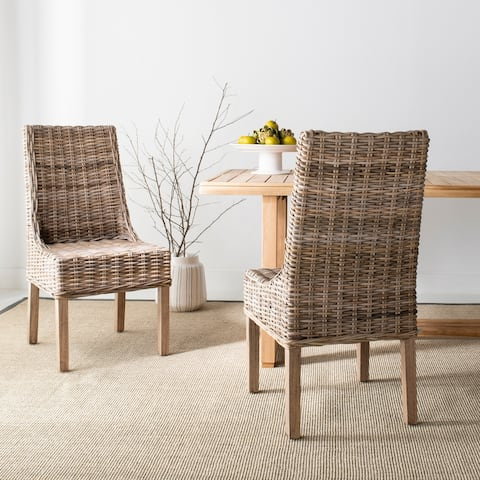 "Safavieh Dining Rural Woven Suncoast Unfinished Natural Wicker Arm Chairs (Set of 2) - 20"" x 24"" x 39"""