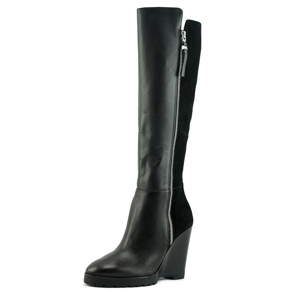Michael Michael Kors Clara Wedge Boot Women Leather Black Knee High Boot
