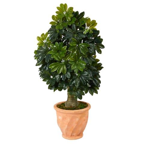 "39"" Schefflera Artificial Tree in Terra-Cotta Planter (Real Touch) - 13"""