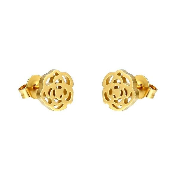Flower Rose Earrings 14k Gold Plate Womens Stunning Stainless Steel Studs 8mm