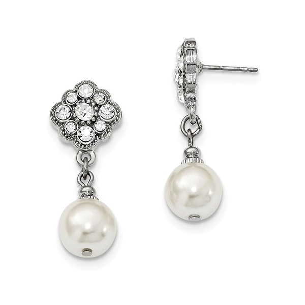 Silvertone Simulated Pearl White Crystal Clip-on Dangle Earrings