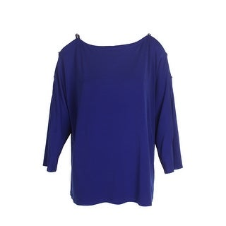 Inc International Concepts Bright Blue 3/4-Sleeve Rhinestone Cold-Shoulder Top